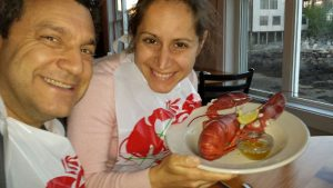 couple eating lobster in Rockport